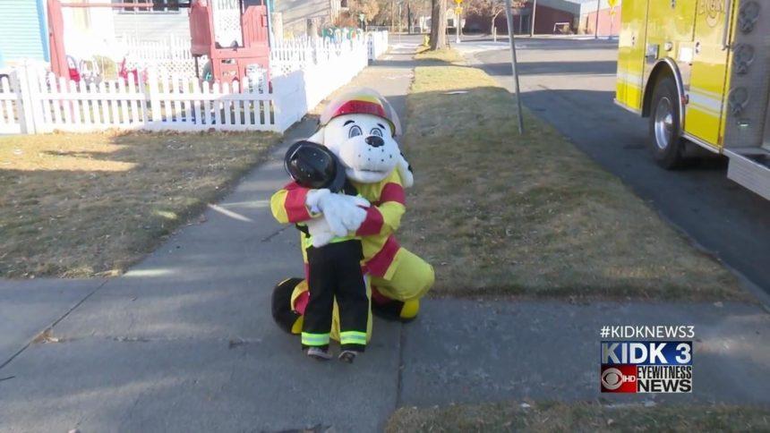 Fire truck picks up little boy from daycare