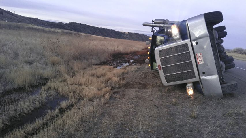 Power County Semi overturn