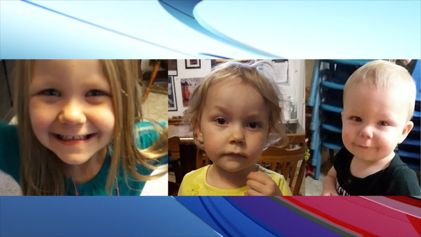 5-year-old Raelynn Demontigny, 3-year-old Lianna Demontigny and 1-year-old Tony Demontigny